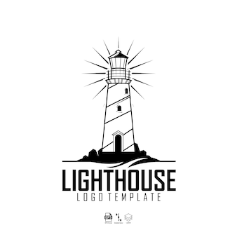 Light house logo template with a white background