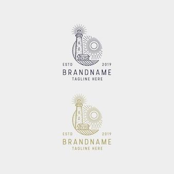Light house mercusuar логотип винтаж ретро