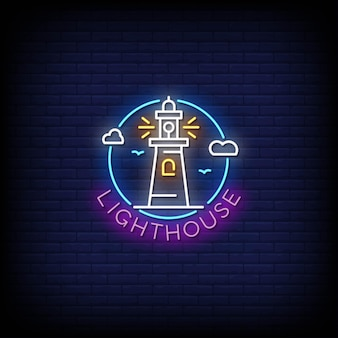 Light house neon signs style text .