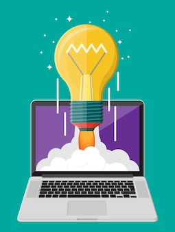 Light idea bulb launching into space from laptop screen. startup, idea, creativity, innovation. crowdfunding, start-up or new business model. vector illustration in flat style