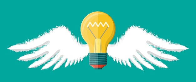 Light idea bulb with wings. concept of creative idea or inspiration. flying glass bulb with spiral in flat style. vector illustration