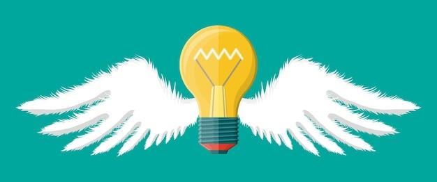 翼のある軽いアイデア電球。創造的なアイデアやインスピレーションの概念。フラットスタイルのスパイラル付きフライングガラス電球。ベクトルイラスト