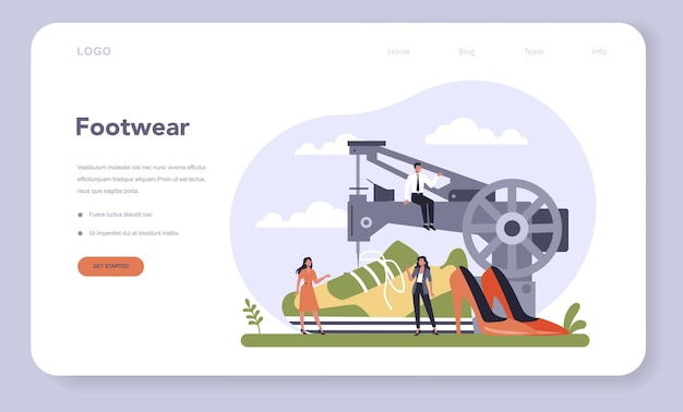 Light industries sector of the economy web template or landing page. footwear production. consumer goods industry.
