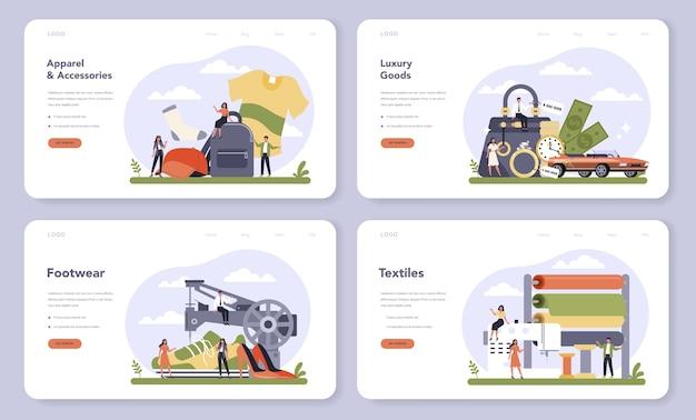 Сектор легкой промышленности экономики веб-баннер или набор целевой страницы.