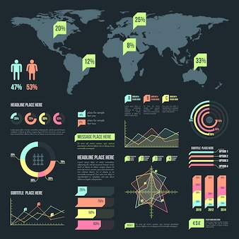 Light infographic elements collection