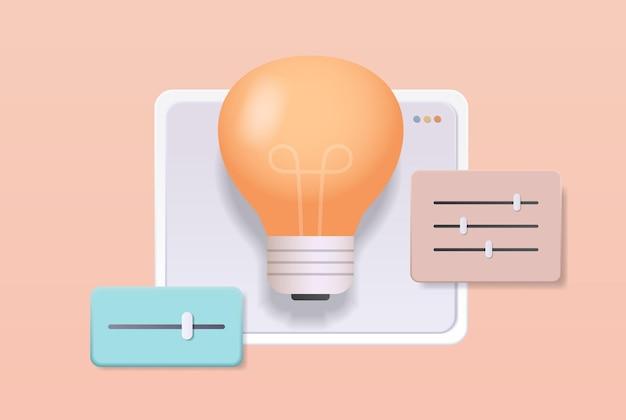 Свет лампа компьютер приложение пользовательские настройки система настройка концепция панели управления настройка пользовательского интерфейса по горизонтали