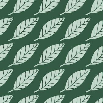 光はシームレスな花柄を葉します。濃い緑色の背景。植物のシンプルな背景。
