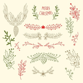 Light merry christmas floral with natural tree branches and cones in hand drawn style illustration