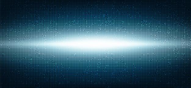 Light microchip technology on dark blue future background