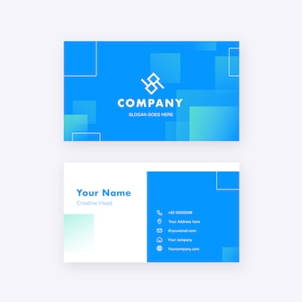 Light minimal elegant business card name template with blue pattern