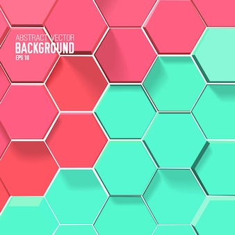 Light mosaic background with red and green hexagons