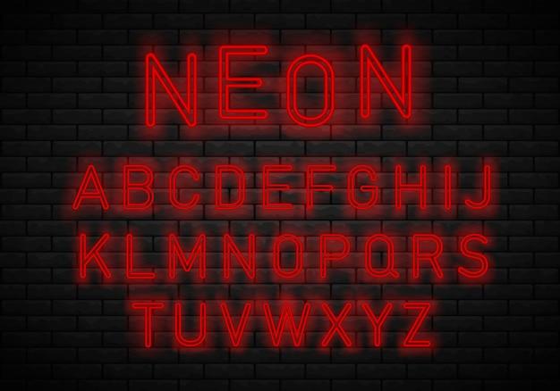 Light neon font alphabet