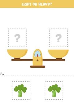 軽いまたは重い。スケール付きの教育ワークシート。子供のための体重の紹介。