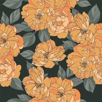 Light orange flowers with leaves drawing seamless pattern on dark background