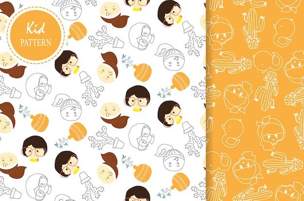 ライトオレンジホワイトシームレスパターン