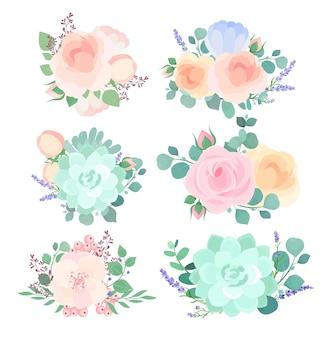 연한 분홍색 및 파랑 새싹 장미 잎과 야생화 나뭇 가지입니다. 정원 꽃 장식