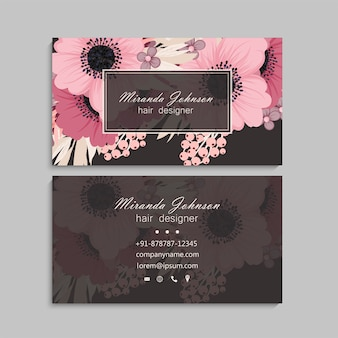 Светло-розовый дизайн визитной карточки