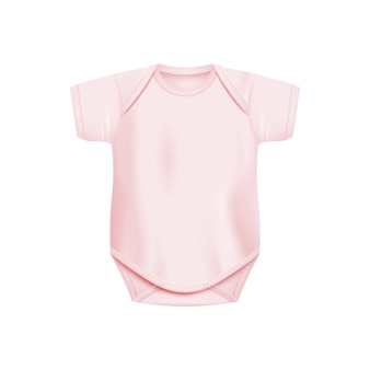 Light pink newborn baby onesie realistic isolated
