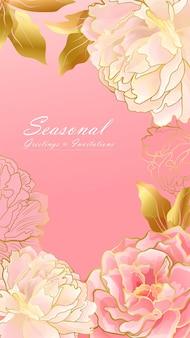 淡いピンクの牡丹の花の肖像画のバナー