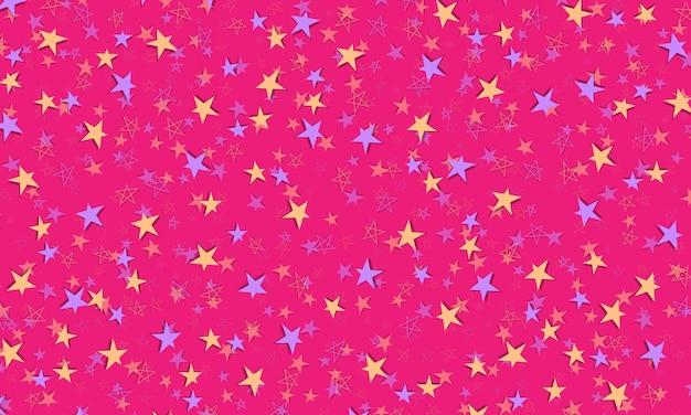 グラデーションでぼやけた抽象的な背景に紫とピンクの星と明るいピンクのベクトルの背景