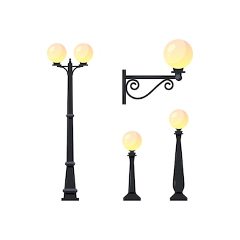 Light pole objects. set of street lamps isolated on white background,