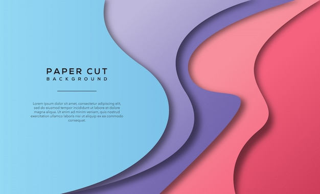 Light purple pink abstract paper cut background
