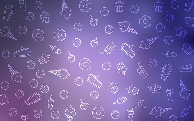 Light purple vector layout with sweet desserts