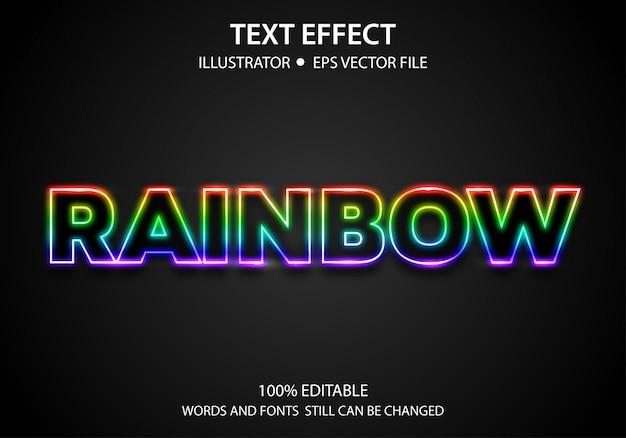 Редактируемый текст стиль эффект light rainbow