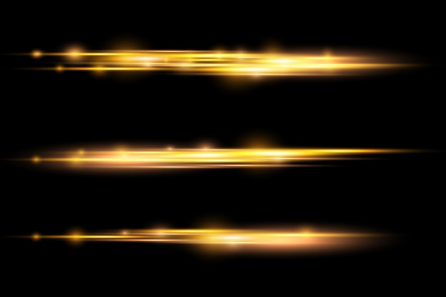 Light rays flash horizontal lens flares pack laser beams glow yellow line bright gold glare