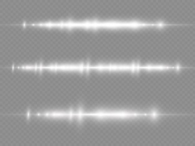 Light rays flash white horizontal lens flares pack laser beams glow white line beautiful flare