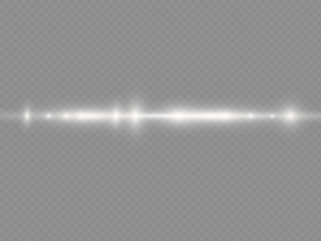光線フラッシュホワイト水平レンズフレアパックレーザービームは白い線を輝かせます美しいフレア