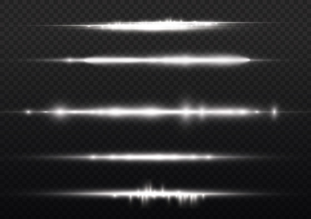 광선 플래시 백색 수평 렌즈 플레어 팩 레이저 광선 광선 백색 라인 아름다운 플레어