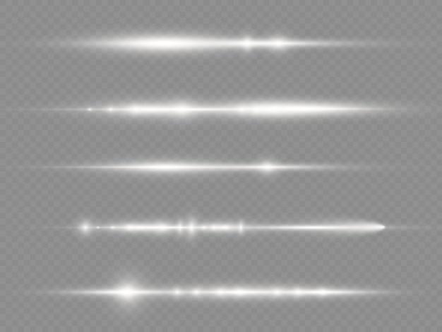 Световые лучи вспышки белые горизонтальные линзы блики пакет лазерные лучи светятся белой линией красивая вспышка
