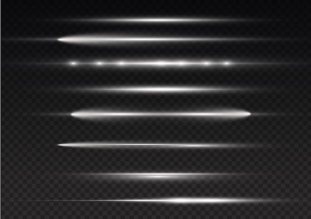 Light rays flash white horizontal lens flares pack laser beams glow white line bright gold glare