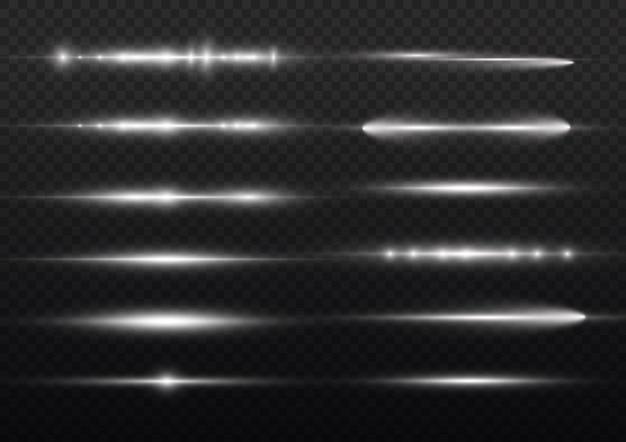 光線フラッシュホワイト水平レンズフレアパックレーザービームグローホワイトライン明るいゴールドグレア