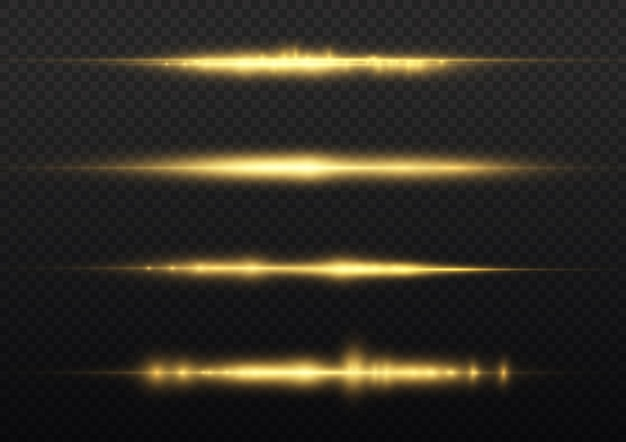 光線が黄色に点滅水平レンズフレアパックレーザービームが黄色に光るライン美しいフレア