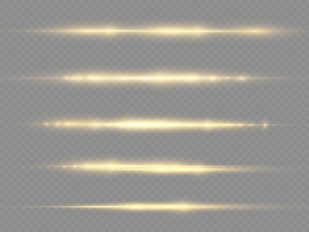 Световые лучи мигают желтой горизонтальной линзой блики пакет лазерные лучи светятся желтой линией красивая вспышка