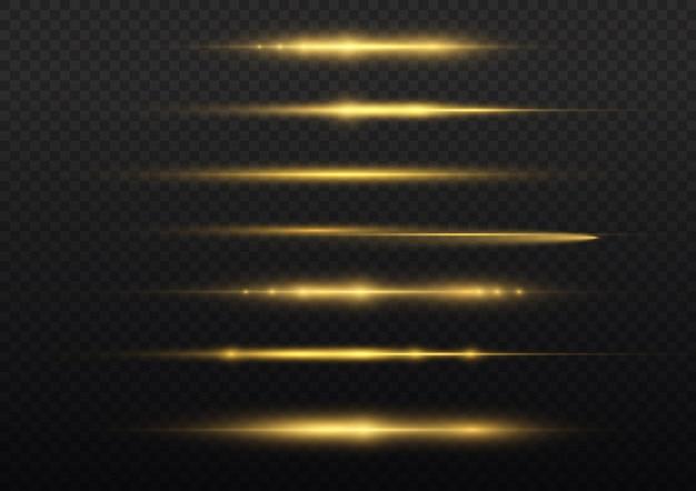 Light rays flash yellow horizontal lens flares pack laser beams glow yellow line beautiful flare