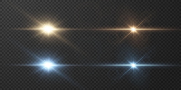 Light rays of light horizontal golden and blue color with glare and flashes isolated on a transparent background