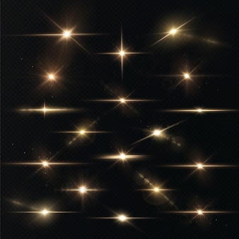 Light rays of light horizontal golden color with glare and flashes isolated on a transparent background