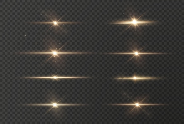 Light rays of light horizontal golden color with glare and