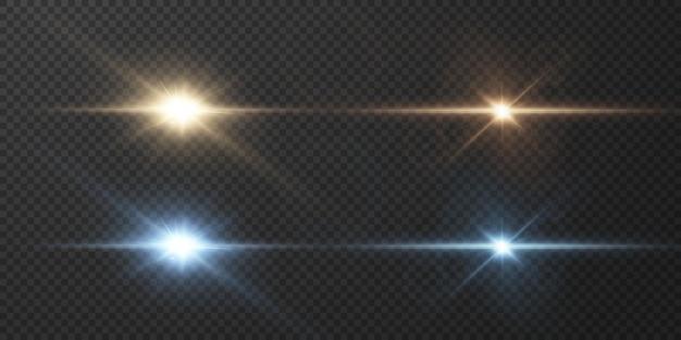 투명한 배경에서 분리된 눈부심과 섬광이 있는 수평 황금색 및 파란색 광선