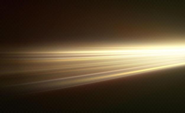 투명한 배경에서 분리된 빛의 수평 황금색 눈부심과 섬광