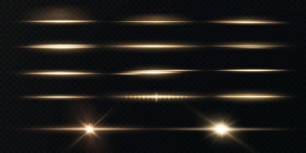 투명한 배경에서 분리된 눈부심과 섬광이 있는 밝은 수평 황금색 광선