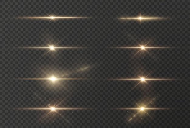 눈부심이 있는 수평의 황금빛 광선과