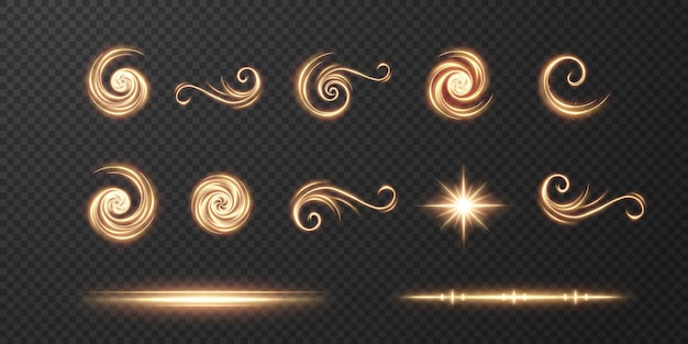 Light realistic curve. golden glow effect.light line.