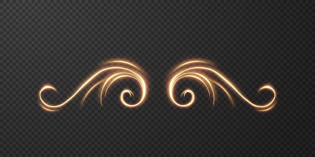 Light realistic curve. magical sparkling golden glow effect.