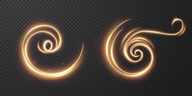 가벼운 현실적인 곡선. 마법의 반짝이는 황금빛 글로우 효과.