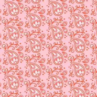Light red paisley bandana seamless pattern