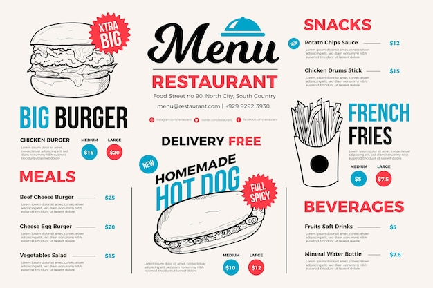 Menu ristorante leggero per piattaforma digitale